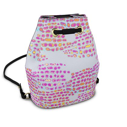 Textural Collection in grey and magenta Bucket Backpack