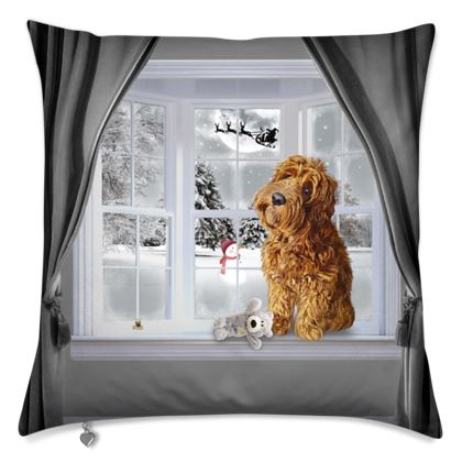 Winter themed cushion Red dog