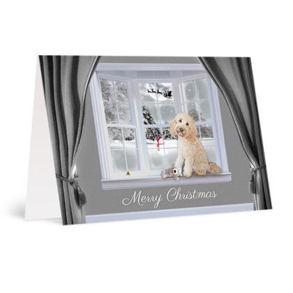 Cream dog christmas card