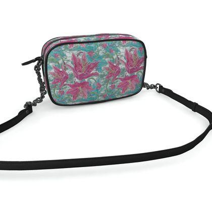 Camera Bag, Pink, Teal, Flower Lily Garden Secrets