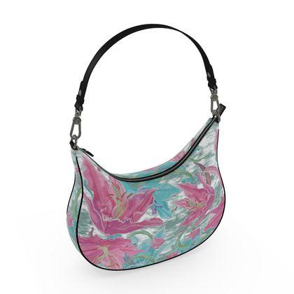 Curve Hobo Bag, Pink, Teal, Flower Lily Garden Secrets