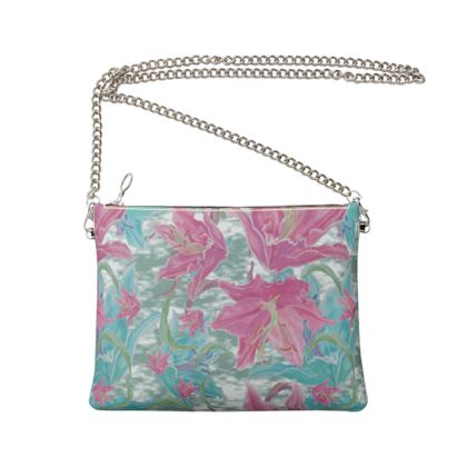 Crossbody Bag With Chain, Pink, Teal, Flower Lily Garden Secrets