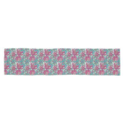 Scarf Wrap Or Shawl, Pink, Teal Flower Lily Garden Secrets