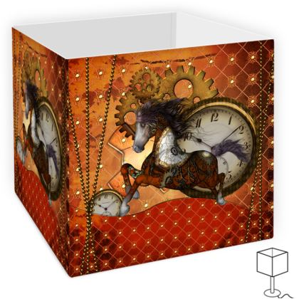 Beautiful steampunk horse with clocks and gears Square Lamp Shade