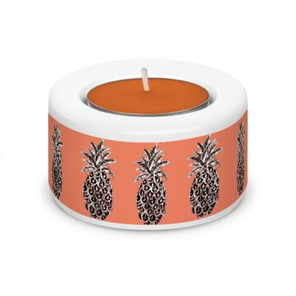 Tangerine Pineapple Tea Light Holder (x2) with fruity candles