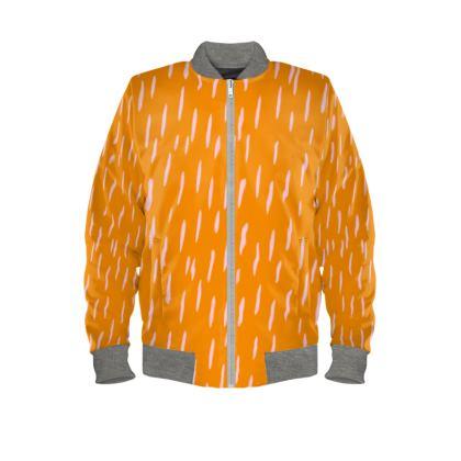 Raining Opportunities Ladies Bomber Jacket in Orange