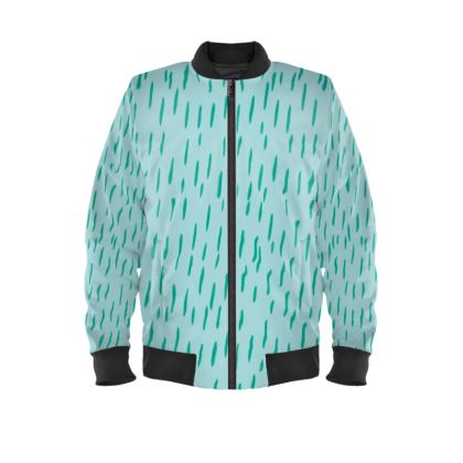 Raining Opportunities Ladies Bomber Jacket in Blue