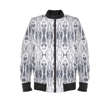 Mysterious Skeletons Ladies Bomber Jacket in Grey