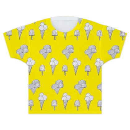 Sunny Day Ice Cream Kids T Shirt in Bright Yellow