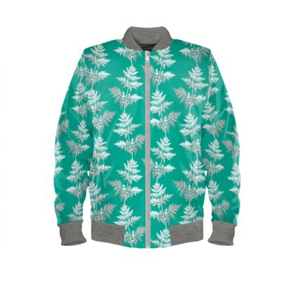 Forest Fern Ladies Bomber Jacket in Jade Green