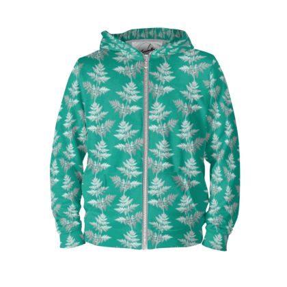 Forest Fern Hoodie in Jade Green
