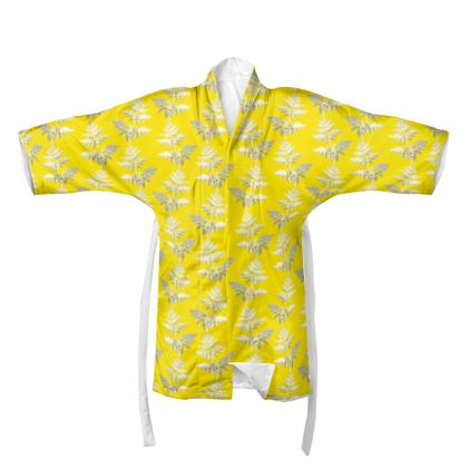 Forest Fern Kimono in Bright Yellow