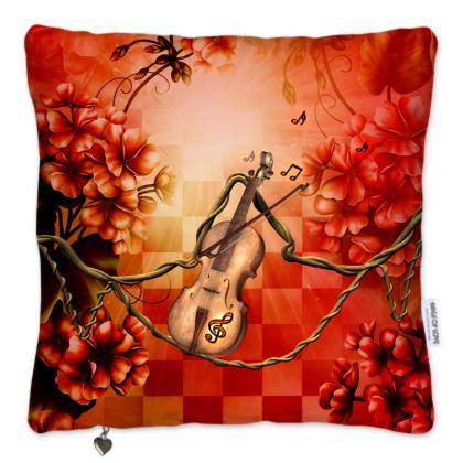 Violin framed by wonderful flowers Pillows Set