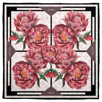 """""""Vigilant Everywhere"""" Floral Red Peony Silk Scarf 35 x 35"""" (90 x 90 cm)"""