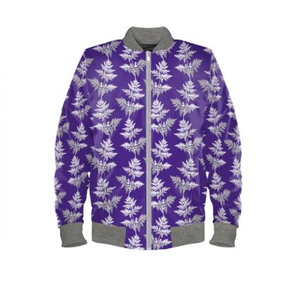 Forest Fern Ladies Bomber Jacket in Royal Blue