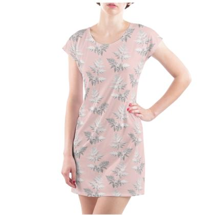 Forest Fern Ladies Tunic T Shirt in Pale Pink