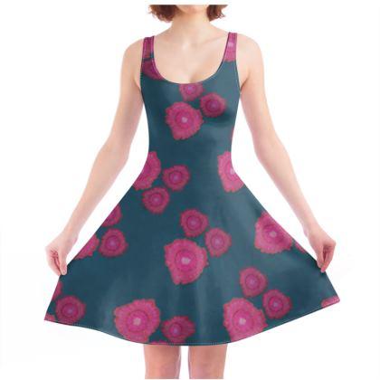 Magenta Floral Skater Dress