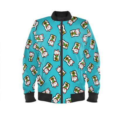 Lucky Cat Pattern Ladies Bomber Jacket
