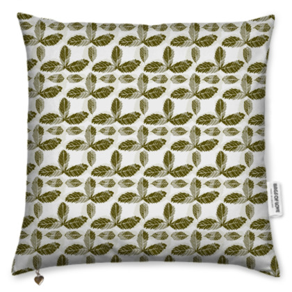 Cushion with Green Strawberry Leaves Design