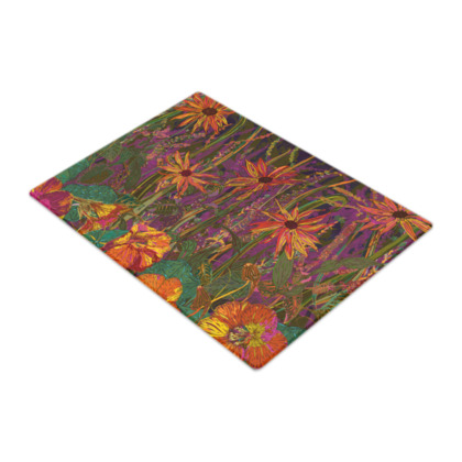 Autumn Flowers Glass Chopping Board