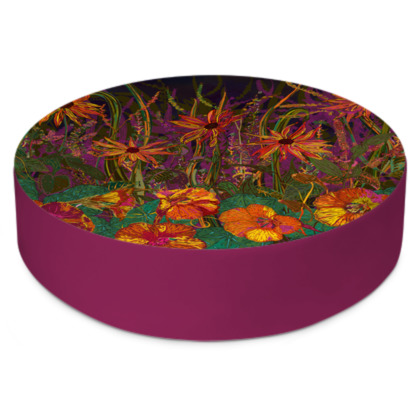 Autumn Flowers Round Floor Cushion