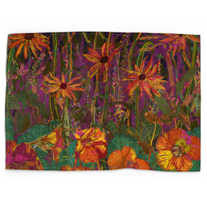 Autumn Flowers Tea Towel