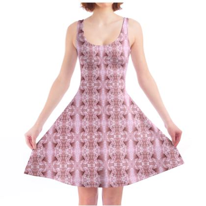 Nice old rose flower stripes girly pattern Skater Dress