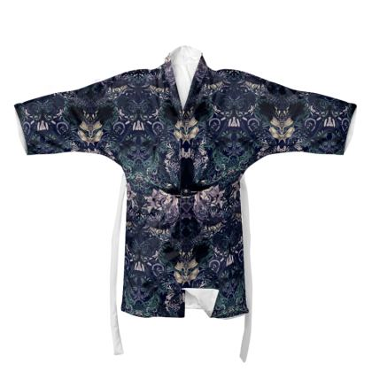 Dark patterned blue Kimono