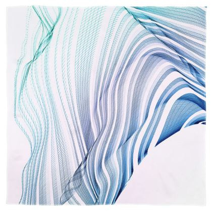 WAVE LOVE - Scarf Wrap or Shawl in blue and mint green on white