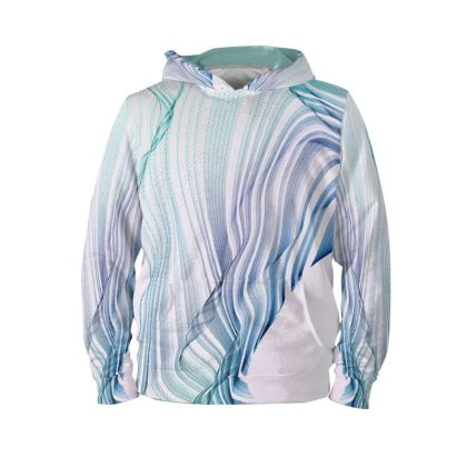 WAVE LOVE - Hoodie in blue and mint green on white