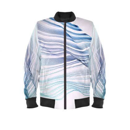 WAVE LOVE - Mens Bomber Jacket in blue and mint green on white