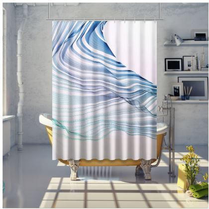 WAVE LOVE - Blue and Mint Green on White - Shower Curtain
