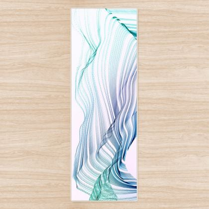 WAVE LOVE - Yoga Mat in Blue and Mint Green on White