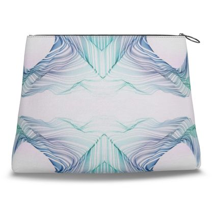 WAVE LOVE 2 - Clutch Bag in Blue and Mint Green on White