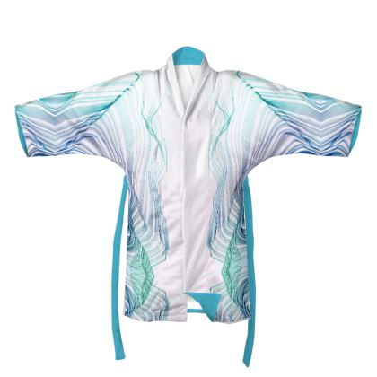 WAVE LOVE 2 - Kimono  in Blue and Mint Green on White