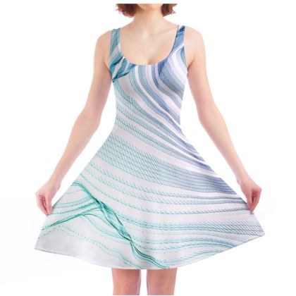 WAVE LOVE - Skater Dress in Blue and Mint Green on White