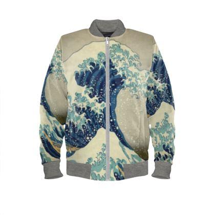 Ladies Bomber Jacket: Great Wave Off Kanagawa By Katsushika Hokusai