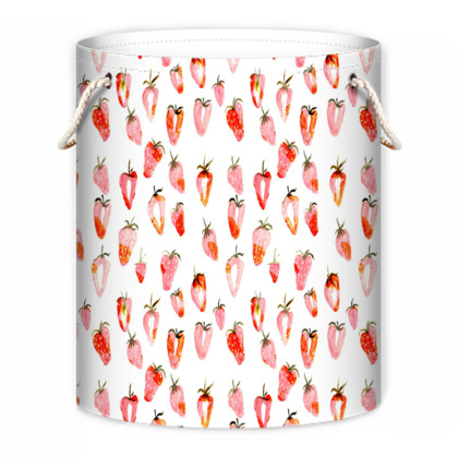 Red and White Laundry Bag with Watercolour Strawberries Print