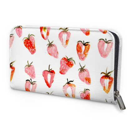 Red Strawberry Leather Zip Purse
