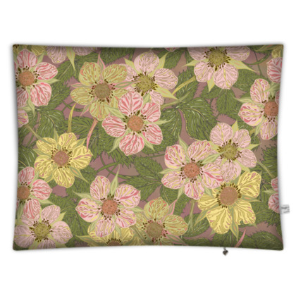 Strawberry Flowers (Natural) Rectangular Floor Cushion