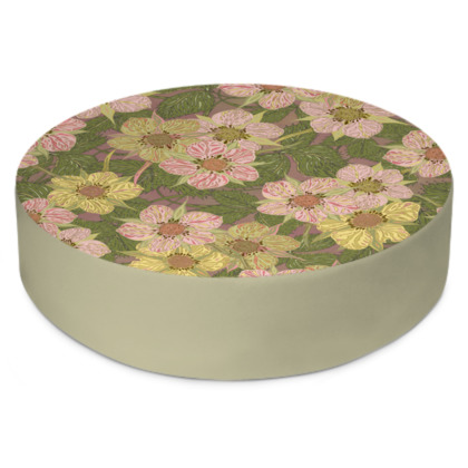 Strawberry Flowers (Natural) Round Floor Cushion