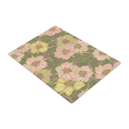 Strawberry Flowers (Natural) Glass Chopping Board