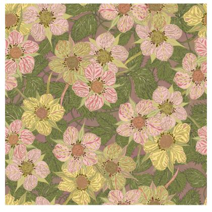 Strawberry Flowers (Natural) Fabric Placemat