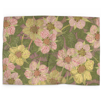 Strawberry Flowers (Natural) Tea Towel