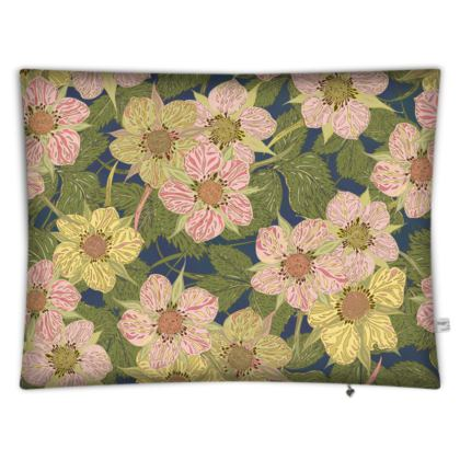 Strawberry Flowers (Dark) Rectangular Floor Cushion