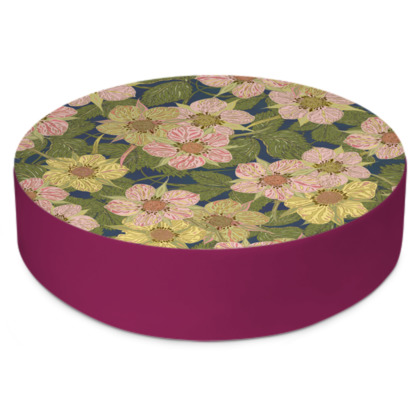 Strawberry Flowers (Dark) Round Floor Cushion