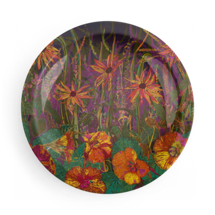 Autumn Flowers and Goldfinches Party Plates