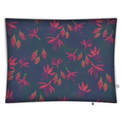 Fabulously Fuchsias (Dark) Rectangular Floor Cushion