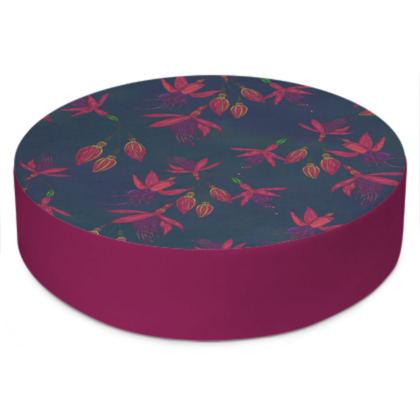 Fabulously Fuchsias (Dark) Round Floor Cushion