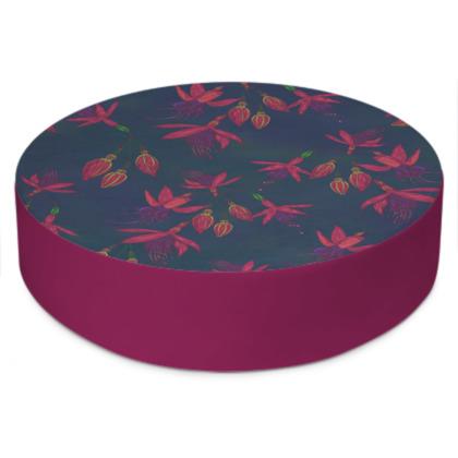 Fabulously Fuchsias (Dark) Round Floor Cushion